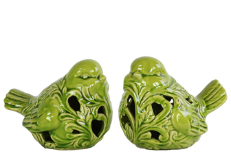 UTC14119-AST Ceramic Bird Figurine with Cutout Design Assortment of Two Gloss Finish Apple Green