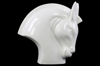 UTC14817 Ceramic Nodding Horse Head Polished Gloss Finish White