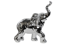 UTC14826 Porcelain Walking Trumpeting Elephant Figurine Polished Chrome Finish Silver
