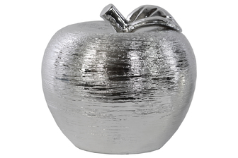 UTC14833 Porcelain Apple Figurine LG Combed Polished Chrome Finish Silver