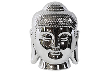 UTC14837 Porcelain Buddha Head with Rounded Ushnisha Polished Chrome Finish Silver