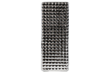 UTC14838 Porcelain Narrow Rectangular Vase LG Studded Polished Chrome Finish Silver