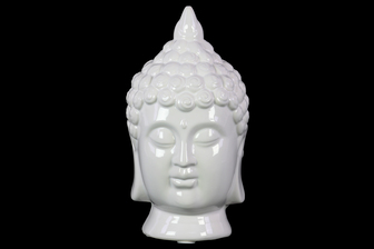 UTC14853 Porcelain Buddha Head with Pointed Ushnisha Gloss Finish White