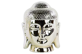 UTC14861 Ceramic Buddha Head with Bun Ushnisha Polished Chrome Finish Champagne