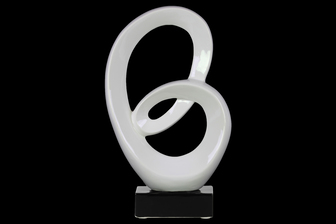 UTC14865 Ceramic Abstract Sculpture Decor on Base Gloss Finish White