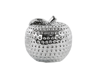 UTC14870 Ceramic Apple Figurine with Leaf on Stem SM Dimpled Polished Chrome Finish Silver