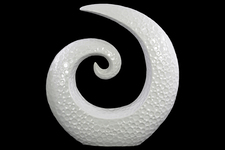 UTC14875 Ceramic Spiral Sculpture with Embossed Circle Design LG Gloss Finish White