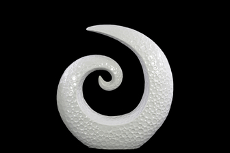 UTC14876 Ceramic Spiral Sculpture with Embossed Circle Design SM Gloss Finish White