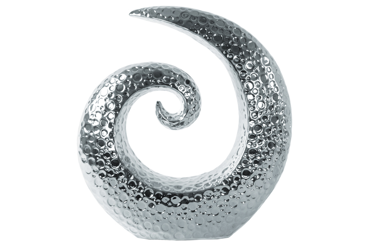 UTC14877 Ceramic Spiral Sculpture with Embossed Circle Design LG Polished Chrome Finish Silver