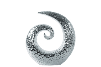 UTC14878 Ceramic Spiral Sculpture with Embossed Circle Design SM Polished Chrome Finish Silver