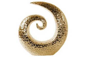 UTC14879 Ceramic Spiral Sculpture with Embossed Circle Design LG Polished Chrome Finish Gold