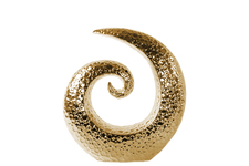 UTC14880 Ceramic Spiral Sculpture with Embossed Circle Design SM Polished Chrome Finish Gold