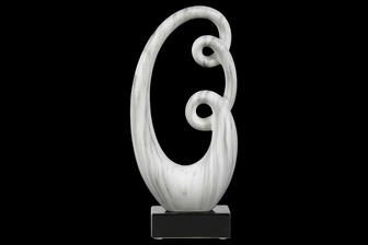 UTC14881 Ceramic Abstract Sculpture Decor on Base Marbleized Matte Finish White