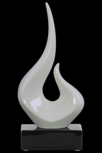 UTC14894 Ceramic Abstract Swirl Sculpture on Black Rectangle Base Gloss Finish White