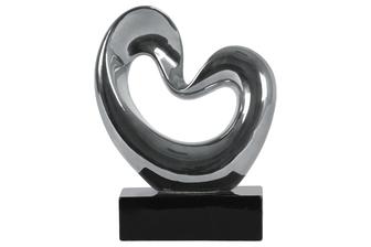 "UTC14934 Ceramic Abstract ""Heart"" Sculpture on Rectangular Black Base SM Polished Chrome Finish Silver"