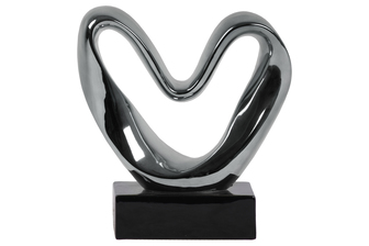 "UTC14937 Ceramic Abstract ""Heart"" Sculpture on Rectangular Black Base LG Polished Chrome Finish Silver"