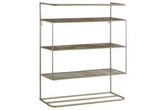 UTC16005 Metal Rectangular Wall Organizer with 3 Shelves Metallic Finish Champagne