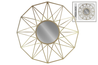 UTC16006 Metal Round Wall Mirror with Starburst Design Frame Metallic Finish Champagne