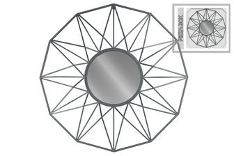 UTC16007 Metal Round Wall Mirror with Starburst Design Frame Metallic Finish Gunmetal Gray