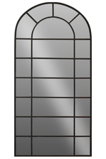 UTC16009 Metal Window Pane Leaner Mirror Metallic Finish Black