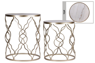 UTC16011 Metal Round Table with Marble Top Surface, Bended Design Body and Round Base Set of Two Coated Finish Champagne