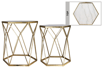 UTC16012 Metal Hexagon Table with Marble Top Surface, Diamond Curved Design Body and Hexagon Base Set of Two Coated Finish Champagne