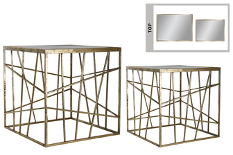 UTC16013 Metal Square Table with Mirror Top Surface, Lattice Design Body and Square Base Set of Two Coated Finish Champagne