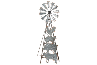 UTC16014 Metal Windmill Ornament with Galvanized Farmhouse Animal Design Body on Moving Stand Antique Finish Bronze