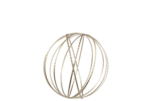 UTC16017 Metal Round Dyson Orb Sphere in Jute Design SM Metallic Finish Champagne