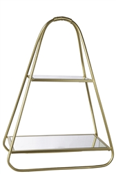 UTC16022 Metal Triangle Standing Shelf with Glass Tiers Design Metallic Finish Gold