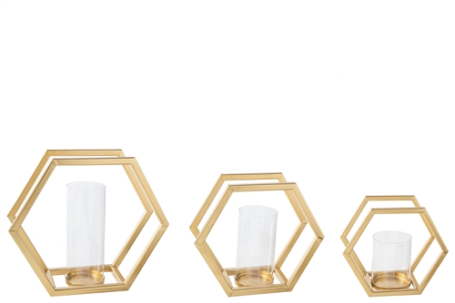 UTC16028 Metal Hexagon Candle Holder with Glued Hurricane Glass Set of Three Metallic Finish Gold