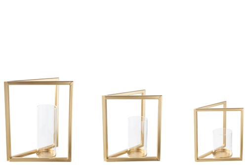 UTC16029 Metal Rectangle Candle Holder with Glued Hurricane Glass Set of Three Metallic Finish Gold