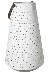 UTC16035 Metal Round Lantern with Top Leather Handle and Dotted Cutout Pattern Design Body LG Painted Finish White