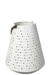UTC16036 Metal Round Bellied Lantern with Top Leather Handle and Dotted Cutout Design Body Painted Finish White