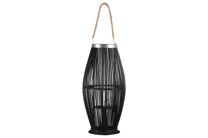 UTC16302 Bamboo Round Lantern with Top Jute Rope Removable Handle, Metal Banded Rim Mouth, Glass Candle Holder and Tapered Bottom on Base LG Painted Finish Black
