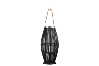 UTC16303 Bamboo Round Lantern with Top Jute Rope Removable Handle, Metal Banded Rim Mouth, Glass Candle Holder and Tapered Bottom on Base MD Painted Finish Black