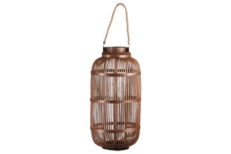 UTC16305 Bamboo Round Lantern with Top Jute Rope Removable Handle, Glass Candle Holder and Lattice Design Body LG Natural Finish Mahogany Brown