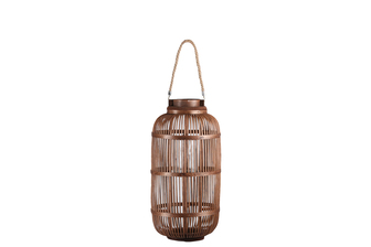 UTC16306 Bamboo Round Lantern with Top Jute Rope Removable Handle, Glass Candle Holder and Lattice Design Body MD Natural Finish Mahogany Brown