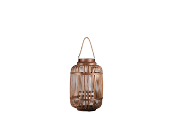 UTC16307 Bamboo Round Lantern with Top Jute Rope Removable Handle, Glass Candle Holder and Lattice Design Body SM Natural Finish Mahogany Brown