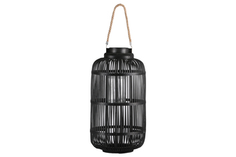 UTC16308 Bamboo Round Lantern with Top Jute Rope Removable Handle, Glass Candle Holder and Lattice Design Body LG Painted Finish Black