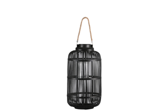 UTC16309 Bamboo Round Lantern with Top Jute Rope Removable Handle, Glass Candle Holder and Lattice Design Body MD Painted Finish Black