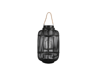 UTC16310 Bamboo Round Lantern with Top Jute Rope Removable Handle, Glass Candle Holder and Lattice Design Body SM Painted Finish Black