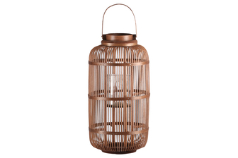 UTC16311 Bamboo Round Lantern with Top Screwed Handle, Glass Candle Holder and Lattice Design Body XL Natural Finish Mahogany Brown