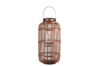 UTC16312 Bamboo Round Lantern with Top Screwed Handle, Glass Candle Holder and Lattice Design Body LG Natural Finish Mahogany Brown