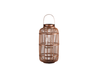 UTC16313 Bamboo Round Lantern with Top Screwed Handle, Glass Candle Holder and Lattice Design Body MD Natural Finish Mahogany Brown