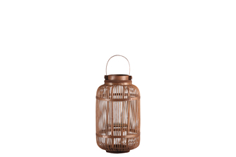 UTC16314 Bamboo Round Lantern with Top Screwed Handle, Glass Candle Holder and Lattice Design Body SM Natural Finish Mahogany Brown