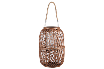 UTC16315 Bamboo Round Lantern with Top Jute Removable Handle, Glass Candle Holder and Criss Cross Lattice Design Body XL Natural Finish Mahogany Brown