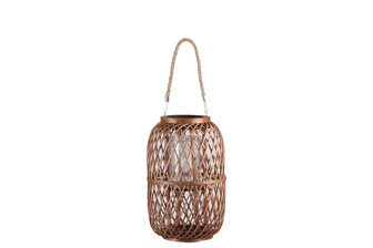 UTC16316 Bamboo Round Lantern with Top Jute Removable Handle, Glass Candle Holder and Criss Cross Lattice Design Body LG Natural Finish Mahogany Brown