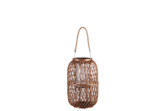 UTC16317 Bamboo Round Lantern with Top Handle, Glass Candle Holder and Criss Cross Lattice Design Body MD Natural Finish Mahogany Brown