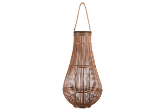 UTC16319 Bamboo Round Bellied Lantern with Wooven Banded Top, Jute Rope Removable Handle, Lattice Design Body and Glass Candle Holder XXL Natural Finish Mahogany Brown